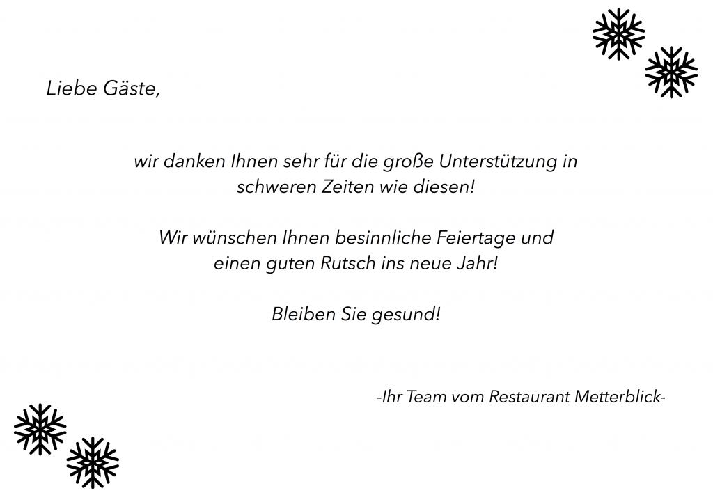 Das Team vom Restaurant Metterblick sagt DANKE für die Unterstützung im Jahr 2020