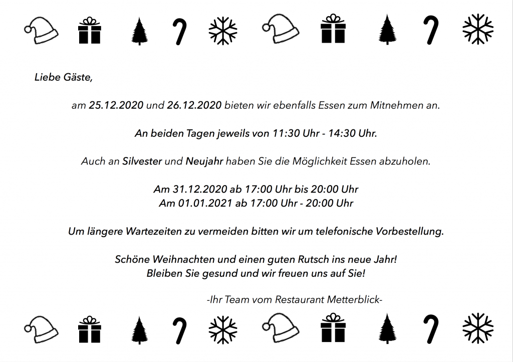Hinweis auf die Öffnungszeiten an den beiden Weihnachtsfeiertagen und Sylvester/Neujahr.